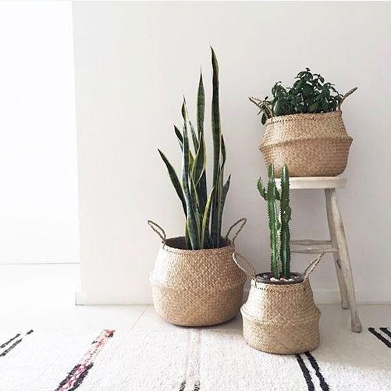Bộ 3 giỏ cỏ bằng đựng chậu cây decor trang trí phong cách vintage