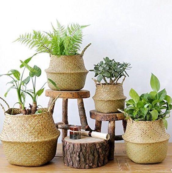 Bộ 4 giỏ cỏ bàng decor cover chậu cây trang trí nhà