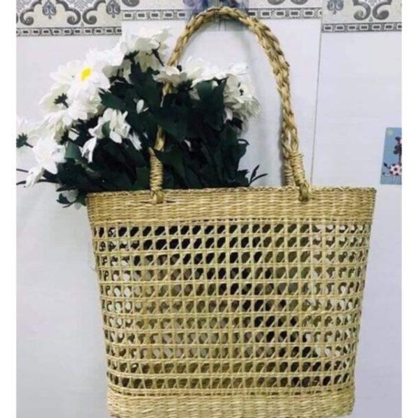 giỏ cói handmade đan thưa 12