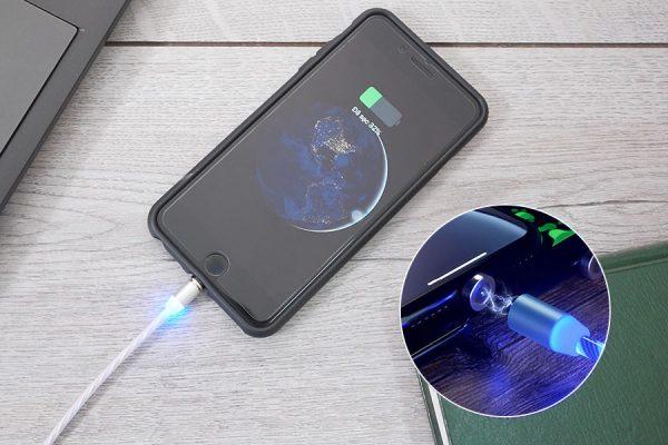 Cáp sạc điện thoại từ tính phát sáng 3 in 1 - 2
