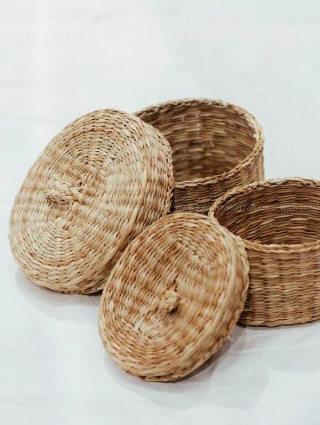 Bộ 3 hộp đựng trang sức - hộp cói handmade đựng đồ 2