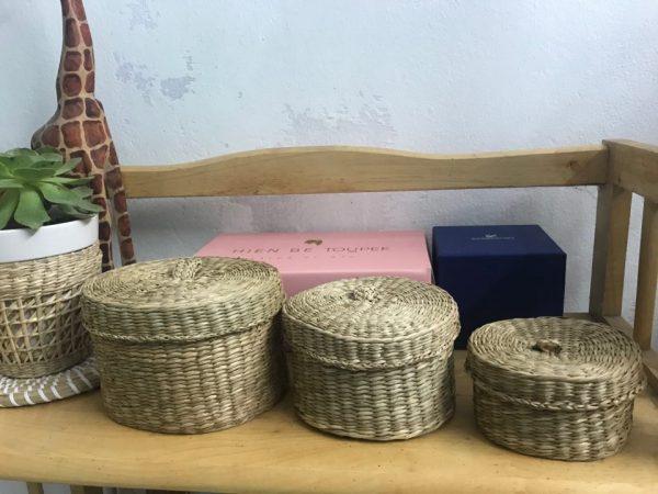 Bộ 3 hộp đựng trang sức - hộp cói handmade đựng đồ 5