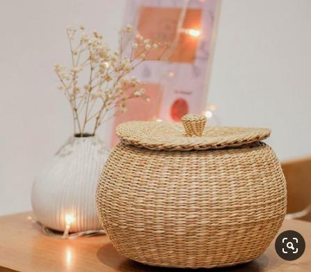 Bộ 3 thố tròn Decor - thố cói handmade đựng đồ 1