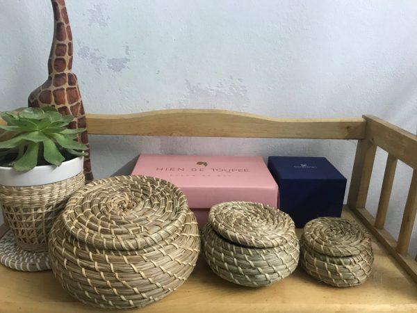 Bộ 3 thố tròn Decor - thố cói handmade đựng đồ