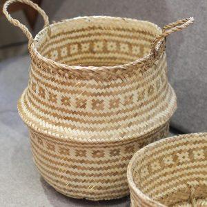 Combo 2 giỏ đựng đồ bằng cói đan hoa