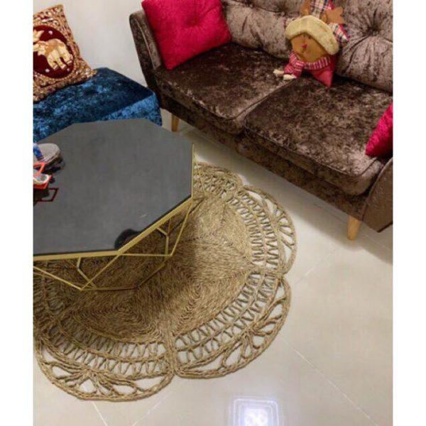 Thảm cói decor đan kỹ thuật hoa thưa D 1,2m - Decor Vintage style 2