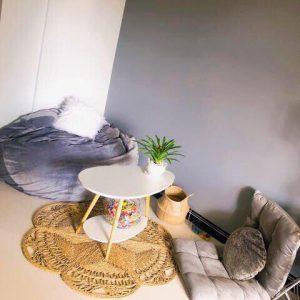 Thảm cói decor đan kỹ thuật hoa thưa D 1,2m - Decor Vintage style