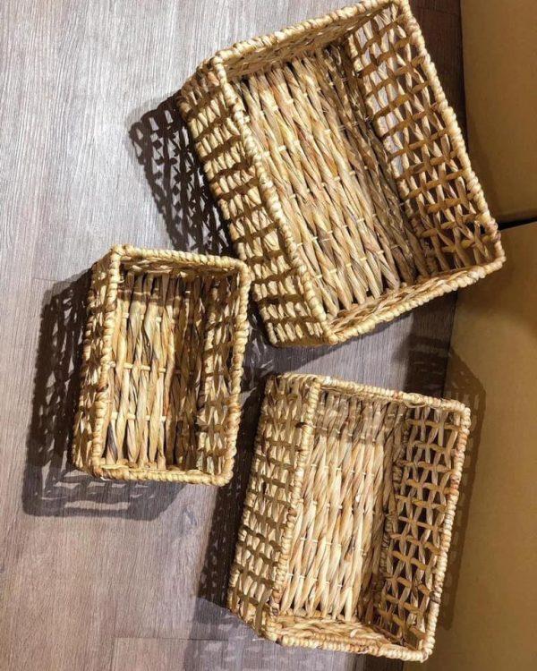Combo 3 Giỏ Lục Bình Đựng Đồ Decor lót vải kết hợp trang trí nhà 1