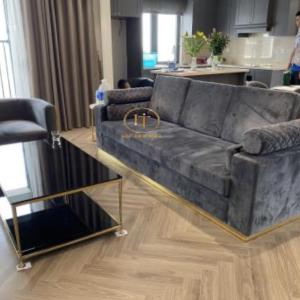 Bộ Sofa Gỗ Sồi Hiện Đại Cách Điệu Bàn Inox Mặt Kính 1