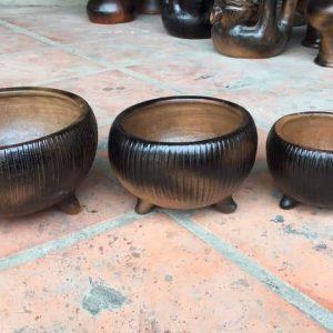 Chậu Cây Tròn Có Chân Gốm Đất Nung Miệng D 15 - 20 - 25cm 1